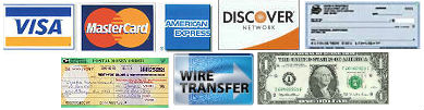 We Accept Major Credit Cards,Checks,Money Orders,Bank Transfers,Cash